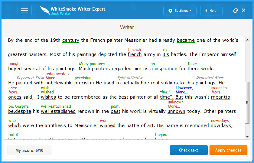 Example of a text being analyzed in WhiteSmoke.